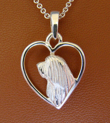 Sterling Silver Bearded Collie Head Study On A Heart Pendant
