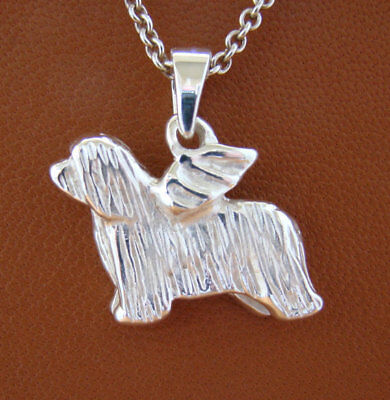 Small Sterling Silver Small Bearded Collie Angel Pendant