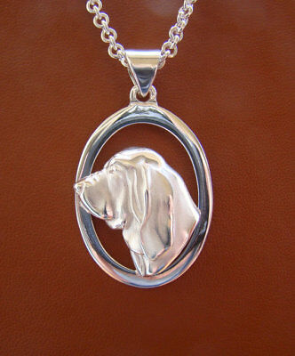 Large Sterling Silver Bloodhound Head Study On A Oval Frame Pendant