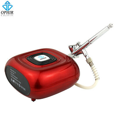 OPHIR Professional Makeup Airbrush Kit with Red Air Compressor Airbrush Sprayer