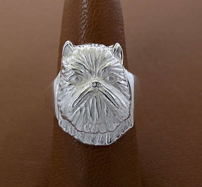 Sterling Silver Brussels Griffon Head Study Ring
