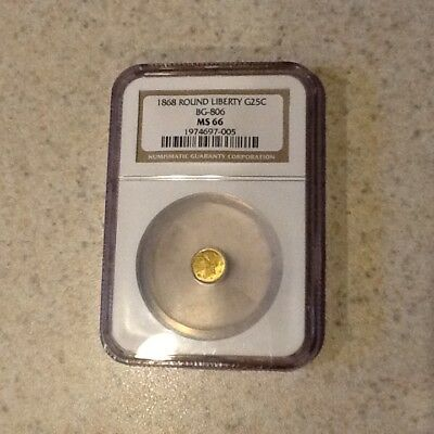 1868 California Fractional Gold Round Liberty G25C BG-806 NGC MS-66