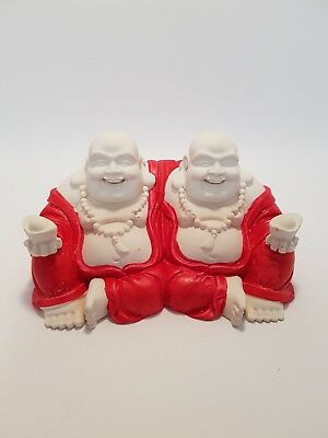"Laughing Buddha Brothers Statue""Double Good Luck""Ivory/Red -Post or Local Pickup"