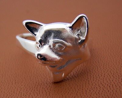 Sterling Silver Chihuahua Head Study Ring