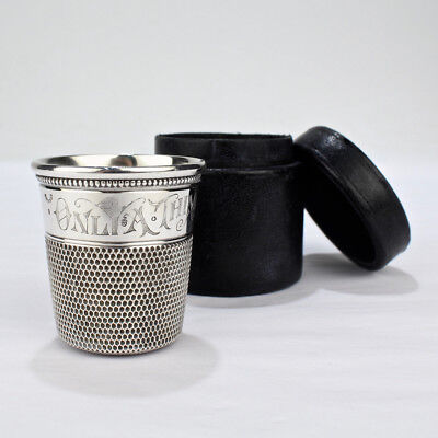 Antique Sterling Silver Just a Thimble Full Cocktail Measure or Shot Glass - SL