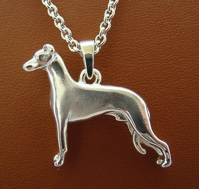 Large Sterling Silver Whippet Standing Study Pendant