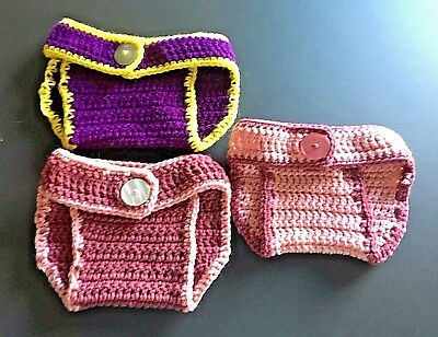 New Lot of 3 Handmade Knit Crochet Button Closure Diaper Cover Size 0-18 month
