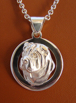 Sterling Silver Shar Pei Head Study On A Circle Frame Pendant
