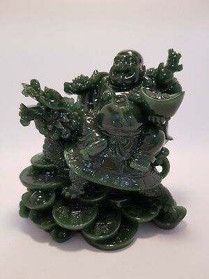 Laughing Buddha sitting on Money Turtle Jade Finish 120mm (Post or Local Pickup)