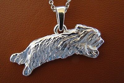 Sterling Silver Bearded Collie Jumping Study Pendant