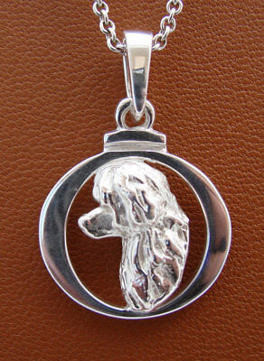 Sterling Silver Portuguese Water Dog Head Study On A Circle Frame Pendant