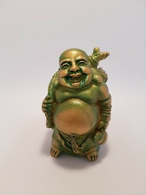 Laughing Buddha Statue, Standing Green/Gold Happiness 90mm(Post or Local Pickup)