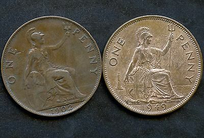 Great Britain 1902 & 1949 1 Penny Coins
