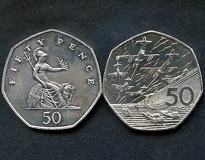 1982 & 1994 Great Britain 50 New Pence Coins