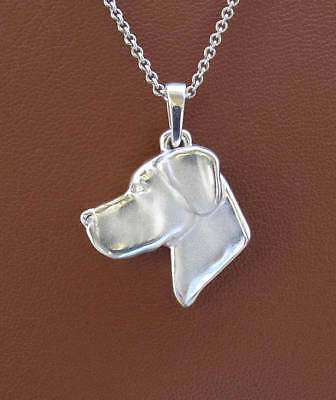Large Sterling Silver Great Dane Head Study With Un- Cropped Ears Pendant