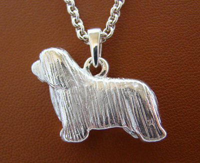 Sterling Silver Large Bearded Collie Standing Study Pendant