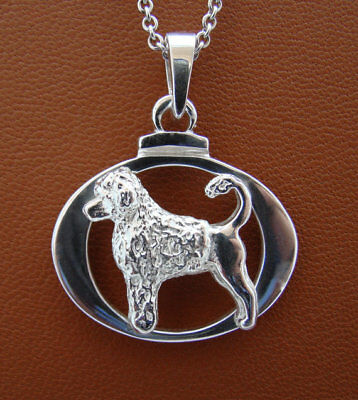 Small Sterling Silver Portuguese Water Dog Standing Study On A Horizontal Oval