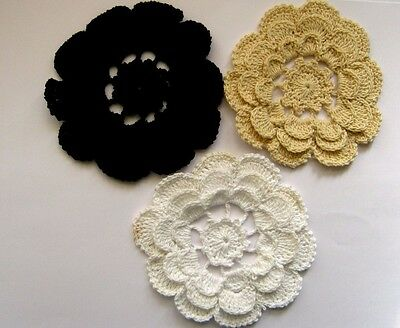 Set of 3 X BEAUTIFUL CROCHET LACE DOILIES - IN THREE COLORS. FREE POSTAGE.