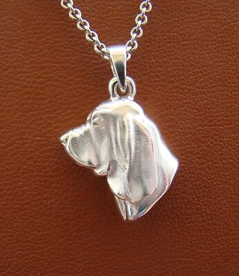 Small Sterling Silver Bloodhound Head Study Pendant