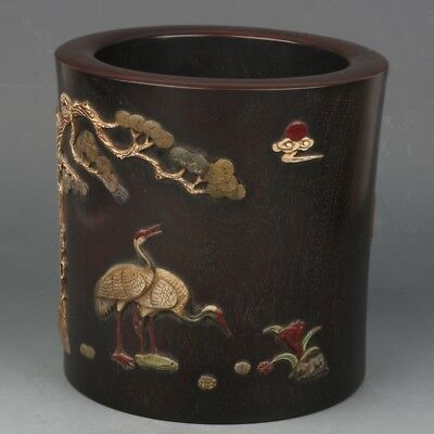Chinese Exquisite Hand-carved Crane pine carving Wooden mosaic shell Brush Pot