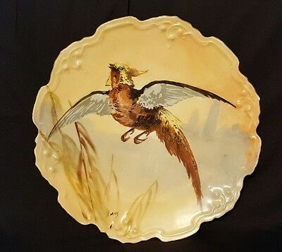 Vintage Hand Painted Limoges Bird Pheasant Plate Artist Signed Collector