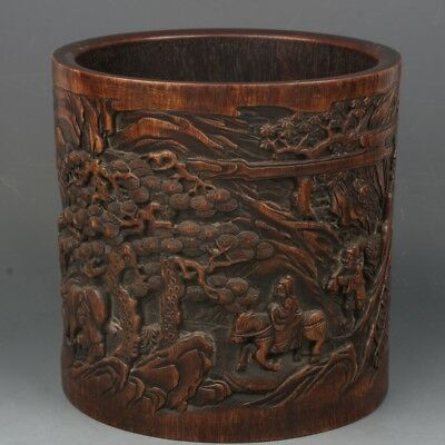 Chinese Exquisite Hand-carved landscape character carving bamboo Brush Pot
