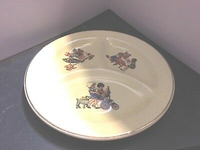1920s Crown Potteries Co. U.S.A. Vintage Childs divided Plate