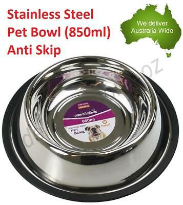850ml Stainless Steel Dog Pet Cat Bowl Non Slip Water Food Feeder Dish Bowls