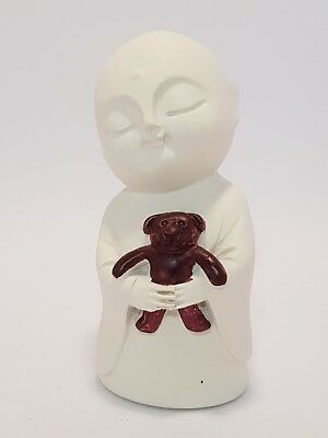 "Jizo & Teddy Bear Ivory/Brown 80mm ""Love & Protection"" (Post or Local Pickup)"