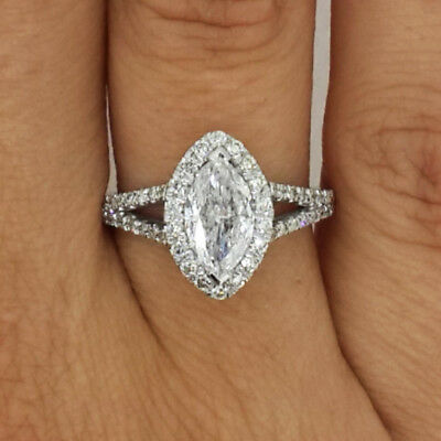 2.00 Ct Marquise Cut D/vs Diamond Solitaire Engagement Ring 14K White Gold