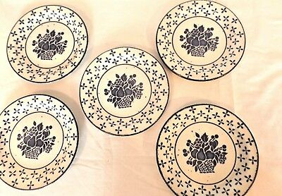 """5 Country Blue Midwinter Stonehenge Blue Fruit Basket 7"""" Bread & Butter Plates"""