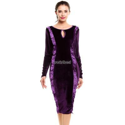 Women Vintage Style Sexy Keyhole Long Sleeve Ruffled Party Prom Bodycon WST 02