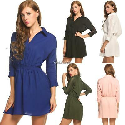New Women Casual Turn-down Collar Three Quarter Sleeve Lace Patchwork WST 01
