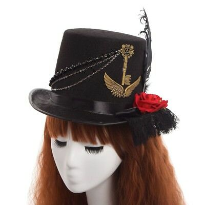 1pc Vintage Unisex Steampunk Gear Wing Floral Lace Hat Vintage Victorian Cosplay
