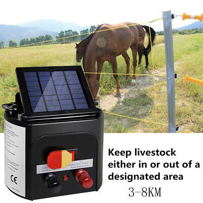 3km/5km/8km Solar Electric Fence Energiser Power Charger 0.3J Farm Pet Animal