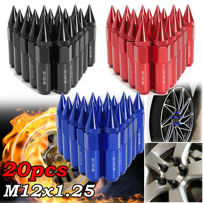 20x Universal Aluminum M12X1.25 Wheels Rims Lug Nuts Spiked 60mm Extended Tuner