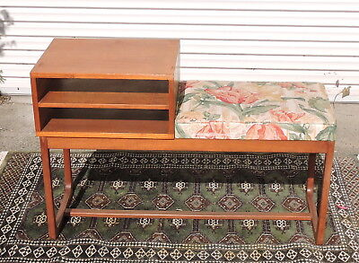 Vintage Retro Mid Century Parker Teak Telephone Table With Floral Seat