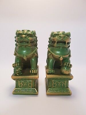"""Temple Lions Statue Pair Green & Gold Finish 115mm - """"Blessings & Protection"""""""