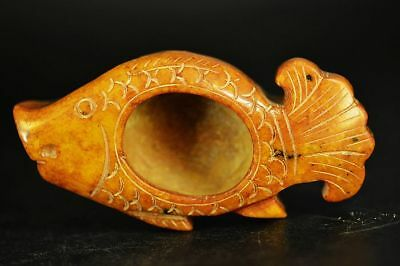 Beautiful Chinese Old jade carved fish writing-brush washer A15