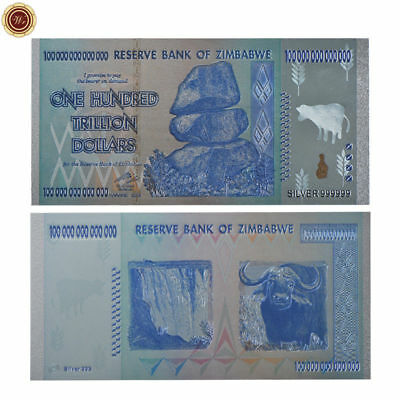 WR Zimbabwe 100 Trillion Dollars Silver Banknote Money  Silver Coloured Note
