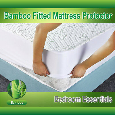 King Size Mattress Protector Waterproof Bamboo Soft Fitted Mattress Cover NEW