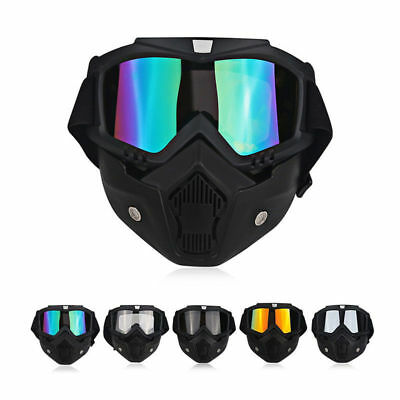 Motorcycle Face Mask Shield with Detachable Goggles Men Women's Eyewear Glasses