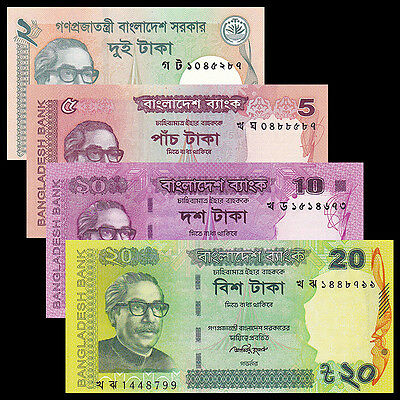 Bangladesh Set 4 PCS 2+5+10+20 Taka, 2012-2014, P-NEW, UNC