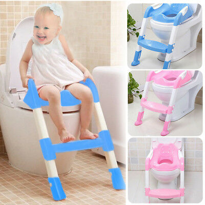 Adjustable Toilet Ladder Seat Chair Baby Toddler Kids Potty Training Toilet Step