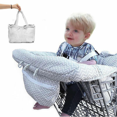 Baby Kid Portable Shopping Cart Cover Strap Trolley Safe Chair Seat Stripe Gray