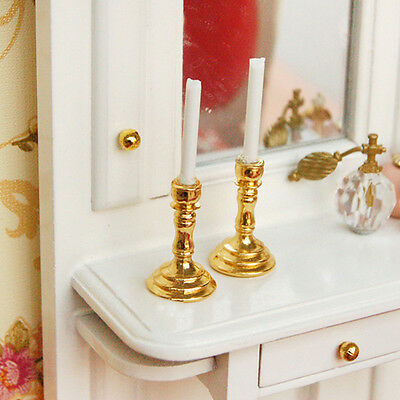 1 Pair of 1/12 Doll House Miniature Mini Candlesticks White Candles DIY Deco. .