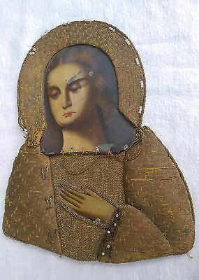 Antique Russian Orthodox Gold-Embroidery Icon 19th century.