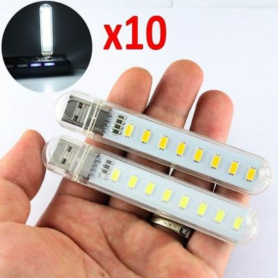 Lot 10pcs Mobile Power USB LED Lamp 8 Led LED Lamp Lighting Computer Night Light