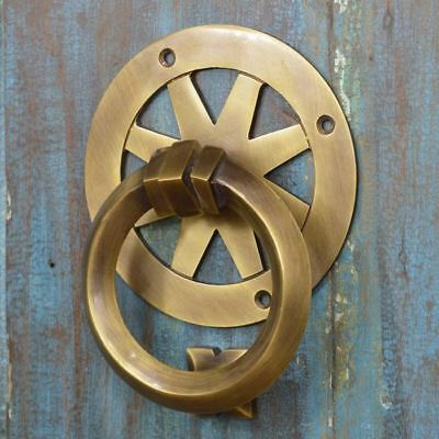 Antique Brass Contemporary loop Ring Door Knocker - Supplied With Fixings