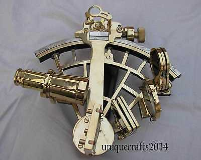 "Solid Shiny Brass Nautical Vintage Sextant Maritime 9"" Working Christmas Gift."